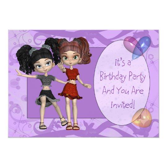 Girls 10th Birthday Party Invitation, Purple Card
