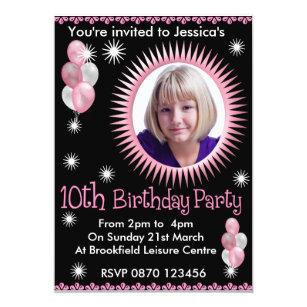 Girls 10th birthday invitations zazzle girls 10th birthday photo invitation filmwisefo