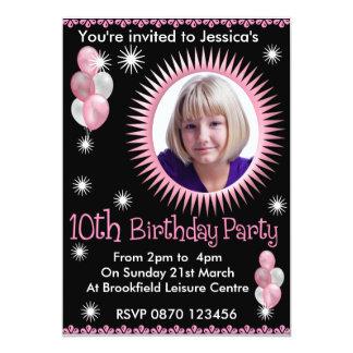 Girls 10th Birthday Photo Invitation