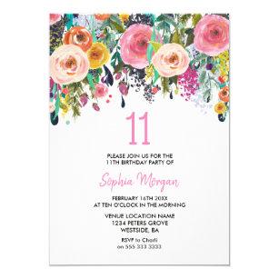 girls 11th birthday invitations zazzle uk