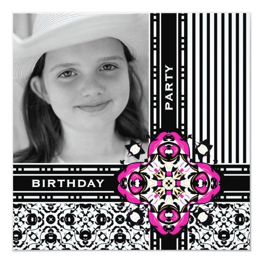 Girl's 12th Birthday Party Damask Invites