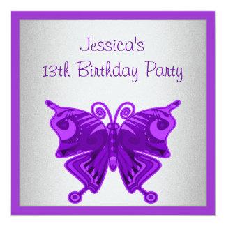 Girls 13th Birthday Bright Purple Butterfly Silver Card