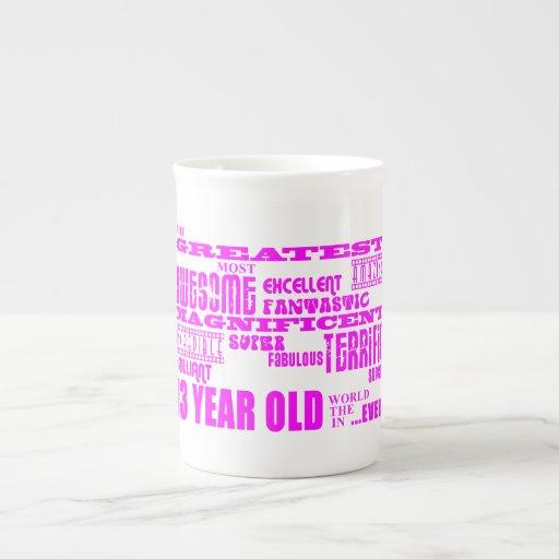 Girls 13th Birthdays : Pink Greatest 13 Year Old Bone China Mug