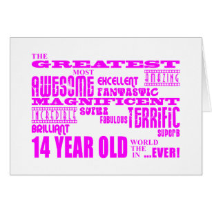 14 year old birthday cards invitations zazzle girls 14th birthdays pink greatest 14 year old card bookmarktalkfo Image collections
