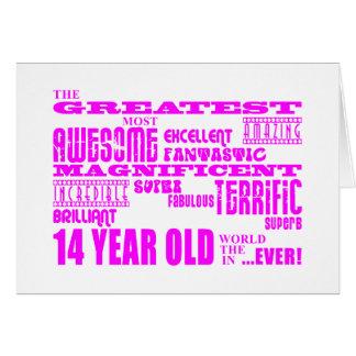 Girls 14th Birthdays : Pink Greatest 14 Year Old Card