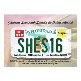 Girl's 16th Birthday Florida License Invitation