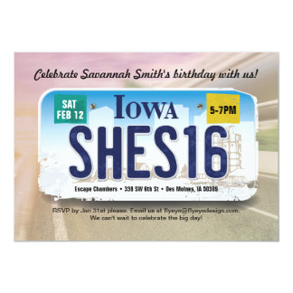 Girl's 16th Birthday Iowa License Invitation