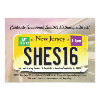 Girl's 16th Birthday New Jersey License Invitation