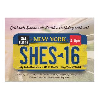 Girl's 16th Birthday New York License Invitation