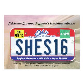 Girl's 16th Birthday Ohio License Invitation