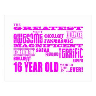 Girls 16th Birthdays : Pink Greatest 16 Year Old Postcard