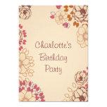 Girl's 17th Birthday Cute Modern Floral 13 Cm X 18 Cm Invitation Card