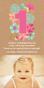 1st birthday thank you cards invitations zazzle girls 1st birthday number 1 thank you photo card bookmarktalkfo Gallery