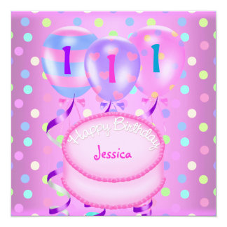 Girls 1st Birthday Party Balloons Cake Streamers Card