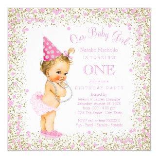 Girls 1st Birthday Party Pink Gold Glitter