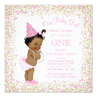 Girls 1st Birthday Party Pink Gold Glitter Ethnic 13 Cm X 13 Cm Square Invitation Card