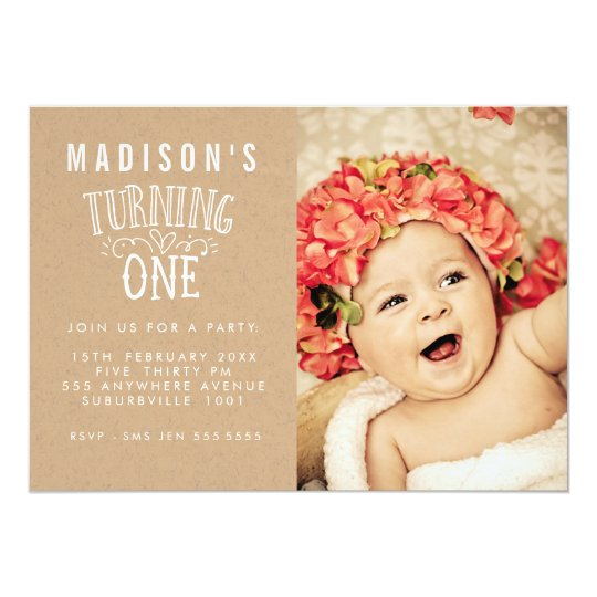 Girls 1st Birthday Personalised Number Photo Card
