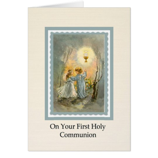 Girls 1st Communion Eucharist Card Verse inside