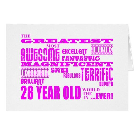Girls 28th Birthdays Pink Greatest Twenty Eight Greeting Cards