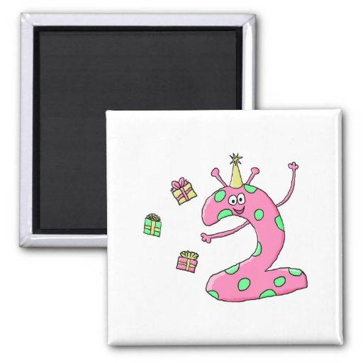 Girls 2nd Birthday Cartoon in Pink. Refrigerator Magnets