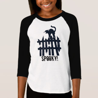Girls 3/4 Length Sleeve Halloween Cat & Fence T-Shirt