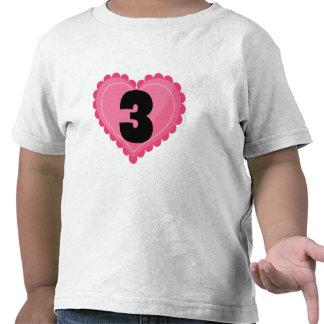 Girls 3rd Birthday Heart T-shirt
