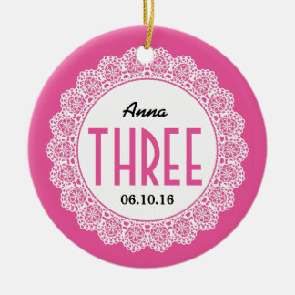 Girl's 3rd Birthday Memento Pink with Lace B03 Christmas Ornament