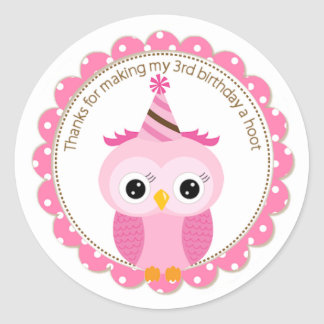 Girls 3rd Birthday Pink Owl Thank You Round Sticker