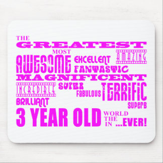 Girls 3rd Birthdays : Pink Greatest 3 Year Old Mouse Pad