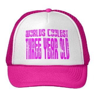 Girls 3rd Birthdays Pink Worlds Coolest Three Year Mesh Hat