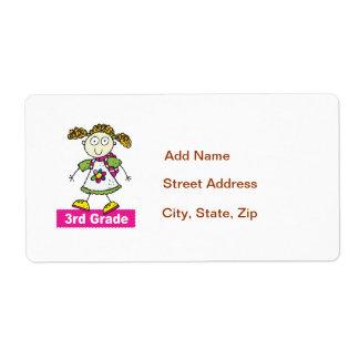 Girls 3rd Grade Shipping Label