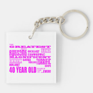 Girls 40th Birthdays Pink : Greatest Forty Key Ring