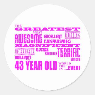 Girls 43rd Birthdays Pink Greatest Forty Three Round Sticker