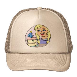 Girls 4th Birthday Gifts Mesh Hats