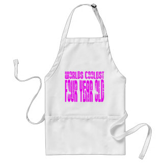Girls 4th Birthdays Pink Worlds Coolest Four Year Adult Apron