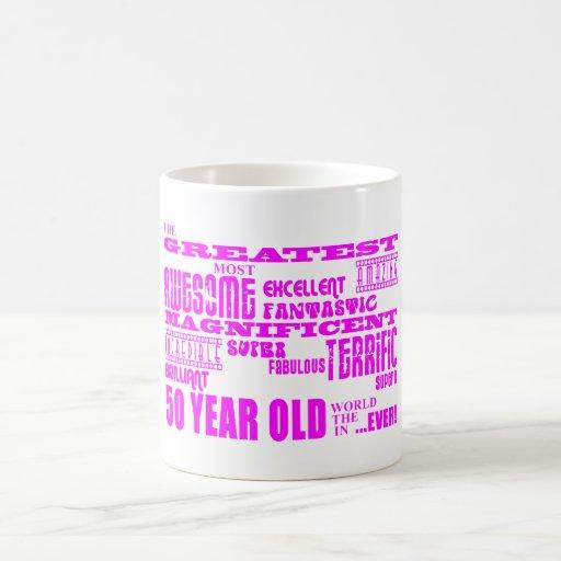 Girls 50th Birthdays Pink : Greatest Fifty Mugs