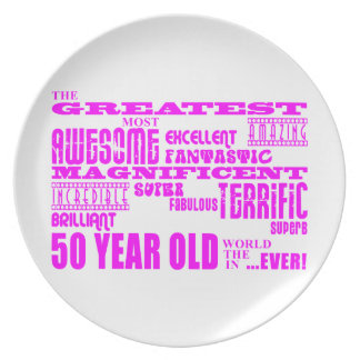Girls 50th Birthdays Pink : Greatest Fifty Plate