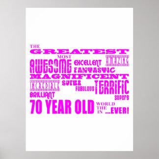 Girls 70th Birthdays Pink Greatest Seventy Print