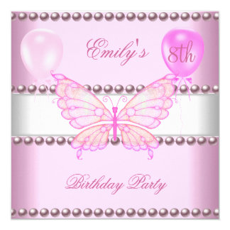 Girls 8th Birthday Butterfly Pink Pearls Balloons Card