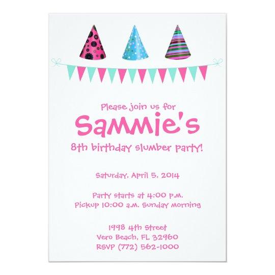 Girls 8th Birthday Sleepover Party Invitation