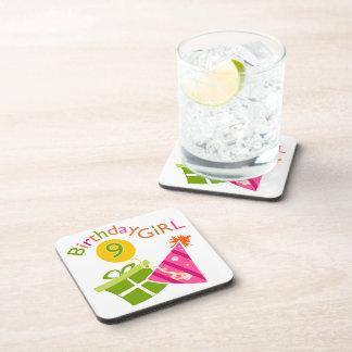 Girls 9th Birthday Beverage Coaster
