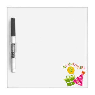 Girls 9th Birthday Dry-Erase Whiteboard