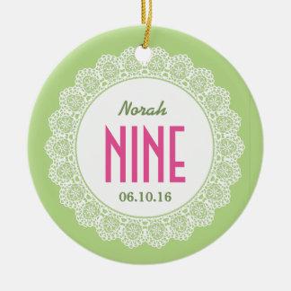 Girl's 9th Birthday Memento Lime Green Pink B09I Ornament