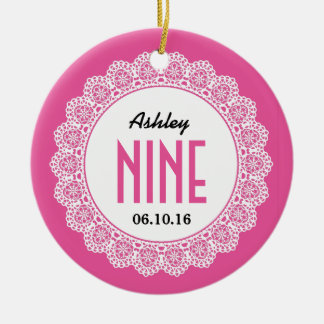Girl's 9th Birthday Memento Pink with Lace B09 Double-Sided Ceramic Round Christmas Ornament