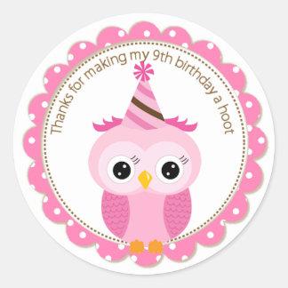 Girls 9th Birthday Pink Owl Thank You Round Sticker