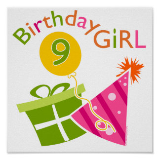 Girls 9th Birthday Poster