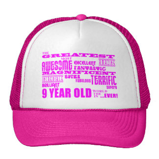 Girls 9th Birthdays : Pink Greatest 9 Year Old Mesh Hats
