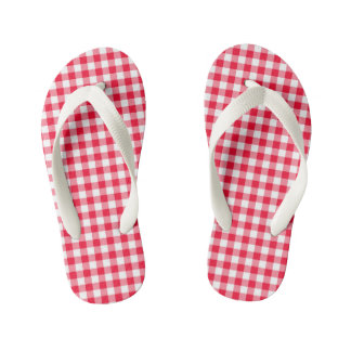 Girls Adorable Red Gingham Flip Flops