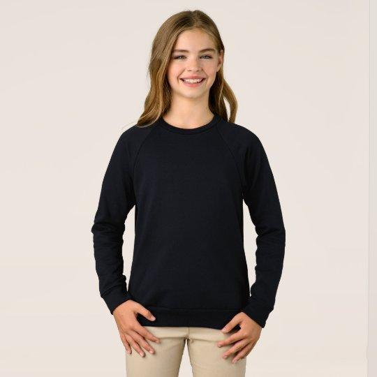 Girls' American Apparel Raglan Sweatshirt, Black