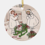 Girls and Pet Pigs Vintage Christmas Round Ceramic Decoration